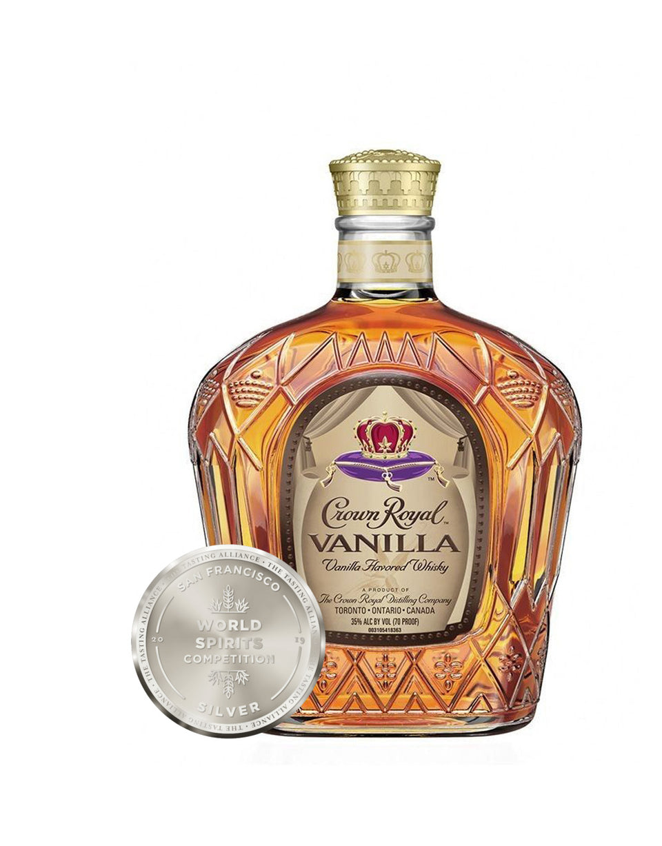 Load image into Gallery viewer, Crown Royal Vanilla whisky bottle and award