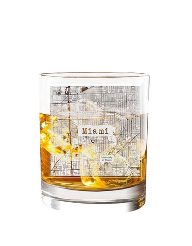 Bourbon & Boots College Town Etched Map Cocktail Glasses - Miami, FL