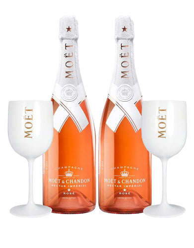 Moët & Chandon Nectar Impérial Rosé By Virgil Abloh (2 Bottles) with Moët Goblets (Set of 2)