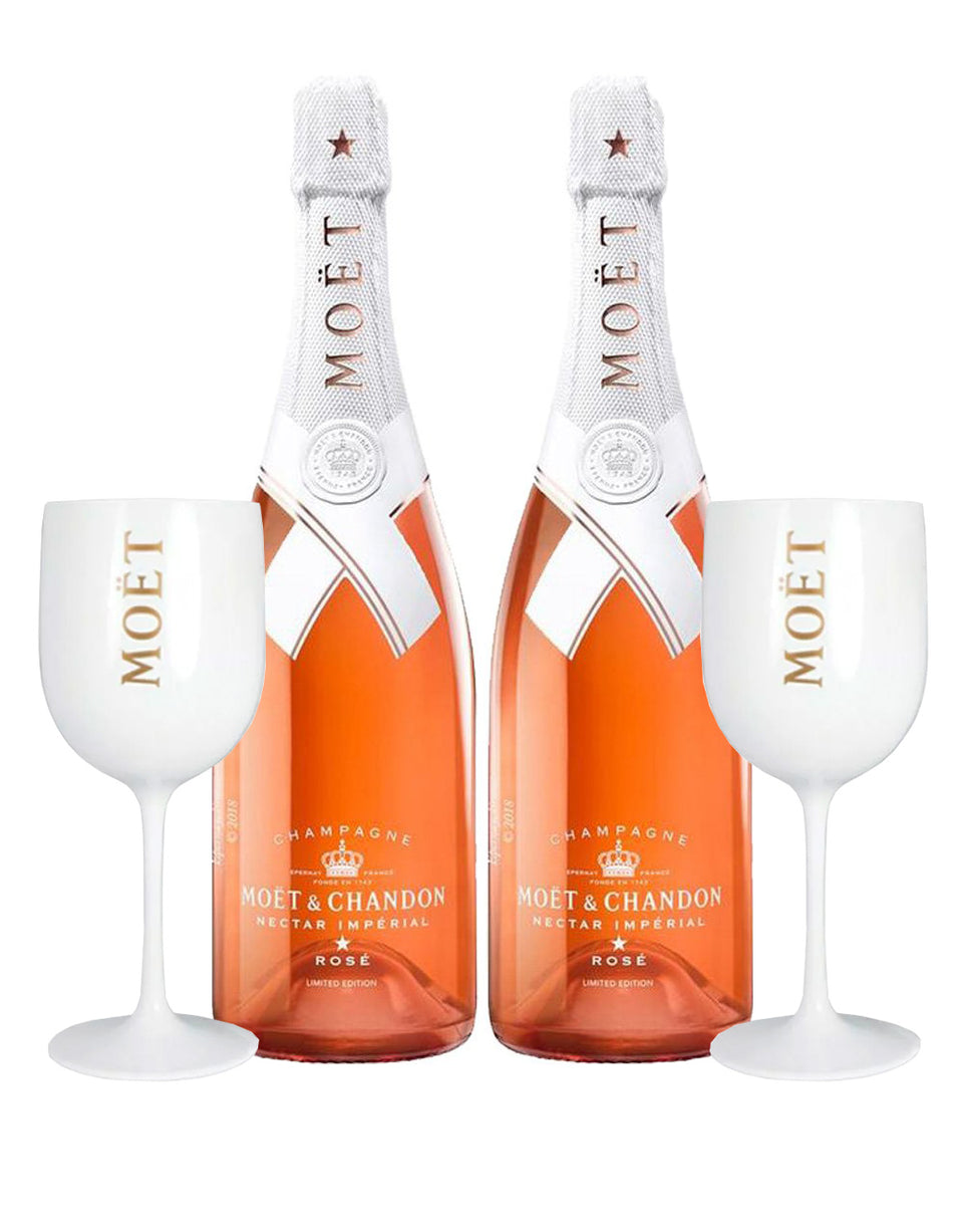 Load image into Gallery viewer, Moët & Chandon Nectar Impérial Rosé By Virgil Abloh (2 Bottles) with Moët Goblets (Set of 2)