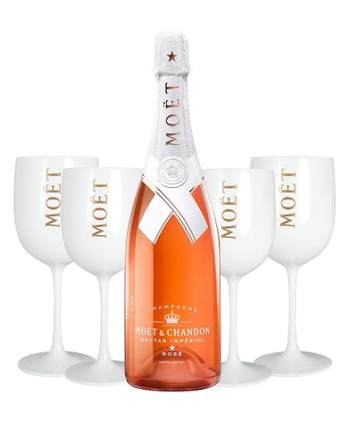 Moët & Chandon Nectar Impérial Rosé by Virgil Abloh with 4 Moët Goblets
