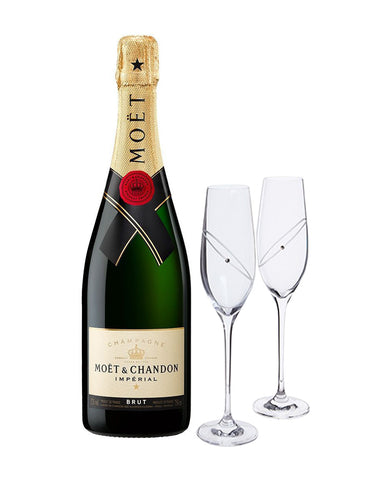 Moët & Chandon Imperial Brut with Dartington Glitz Celebration Flutes