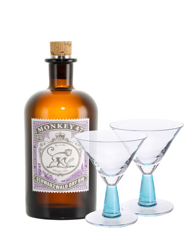 Monkey 47 with Dartington Gin Connoisseur Martini Blue Pair