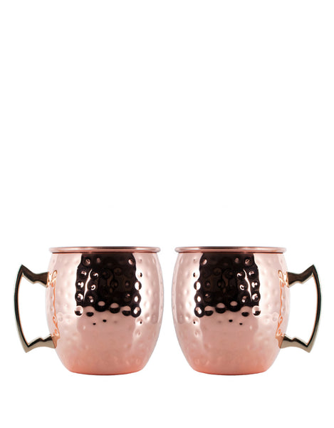 Rolf Glass Copper Hammered Moscow Mule Mug (Set of 2)