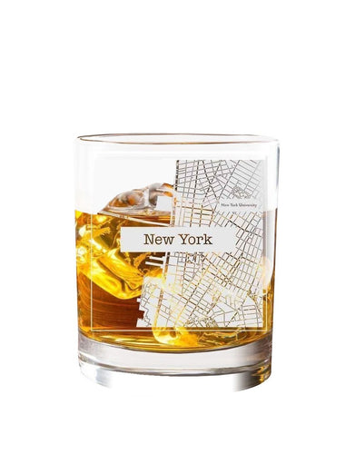 Bourbon & Boots College Town Etched Map Cocktail Glasses - New York, NY
