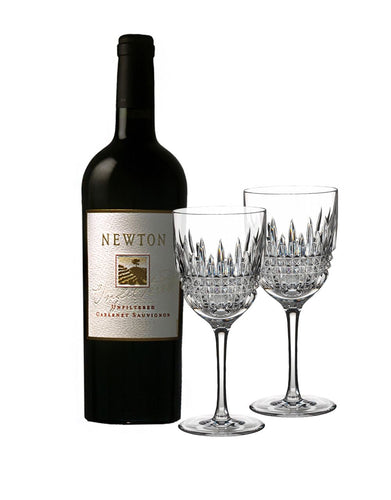 Newton Unfiltered Cabernet Sauvignon with Waterford Lismore Diamond Goblet Pair