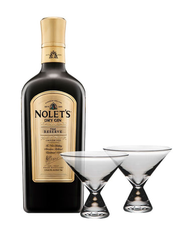 NOLET'S Reserve Dry Gin with Simon Pearce Westport Stemless Martini Glasses