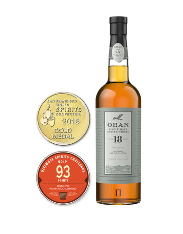 Load image into Gallery viewer, Oban™ 18 Years Old Single Malt Scotch Whisky bottle and awards