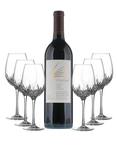 Opus One Overture NV with Waterford Lismore Essence Goblet Set