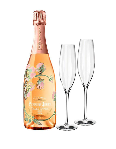 Perrier-Jouet Belle Epoque Rosé Vintage with Waterford Elegance Champagne Classic Flute Set