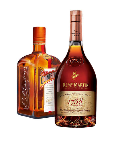 Rémy Martin 1738 Accord Royal Cognac Fine Champagne bundled with Cointreau Orange Liqueur bottles