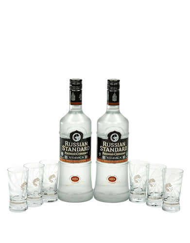 """No Dilution Necessary"" Gift Set: 2 Russian Standard Original + 6 Shot Glasses"
