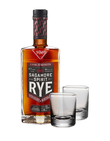 Sagamore Spirit Cask Strength Rye Whiskey with Set of Simon Pearce Ascutney Double Old-Fashioned Glasses