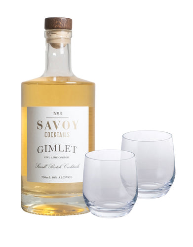 Savoy Cocktails Gimlet with Dartington Wine & Bar Tumbler Pair