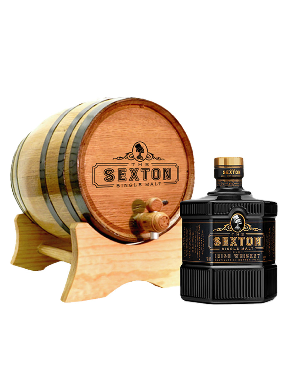 A The Sexton Irish Whiskey branded barrel on a stand. On the right is a full 750 ml size bottle of The Sexton Irish Whiskey.
