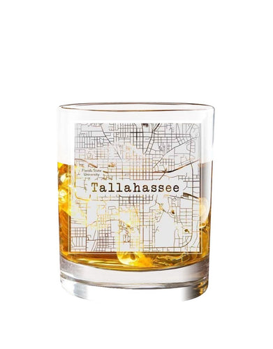 Bourbon & Boots College Town Etched Map Cocktail Glasses - Tallahassee, FL