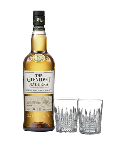 The Glenlivet Nàdurra First Fill Selection with Waterford Lismore Diamond Tumbler Pair