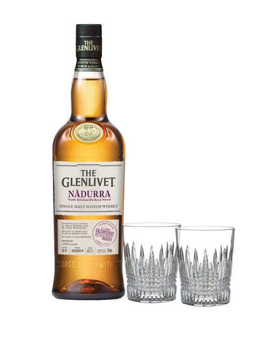 The Glenlivet Nàdurra Oloroso with Waterford Lismore Diamond Tumbler Pair
