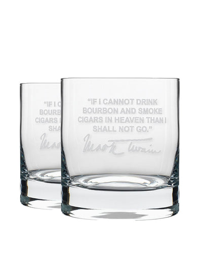 Bourbon & Boots Whiskey Legend Cocktail Glasses - Mark Twain Bourbon