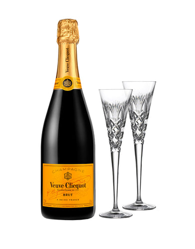 Veuve Clicquot Yellow Label (750ml) with Waterford 2020 Times Square Flute Pair