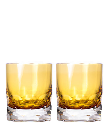 set of 2 Engraved Crystal Double Old Fashioned Bourbon Rocks Glasses