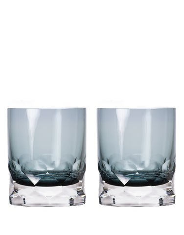 Rolf Glass Vienna Smoky Blue Double Old-Fashioned in Gift Box (Set of 2)