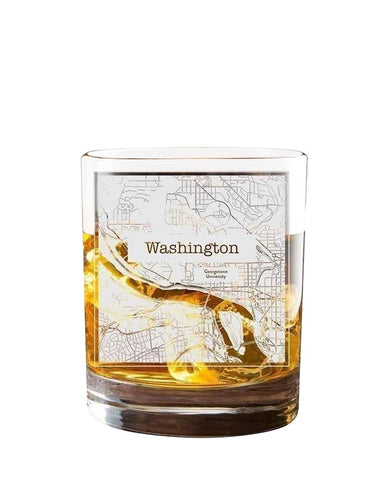 Bourbon & Boots College Town Etched Map Cocktail Glasses - Washington, DC