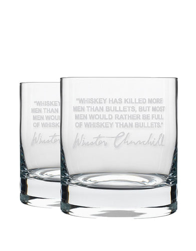 Bourbon & Boots Whiskey Legend Cocktail Glasses - Winston Churchill