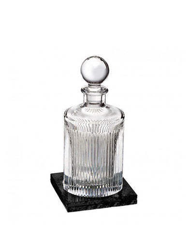 Waterford Aras Decanter Round 32 Oz With Marble Coaster