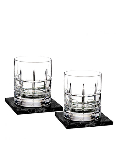 Waterford Cluin Dof 12 Oz Set With Marble Coasters