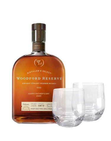 "Woodford Reserve® Bourbon ""Happy Father's Day 2020"" Engraved with Dartington Wine & Bar Tumbler Pair"