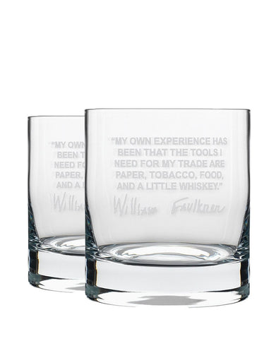Bourbon & Boots Whiskey Legend Cocktail Glasses - William Faulkner