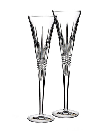 Waterford Lismore Diamond Toasting Flute Pair 5oz