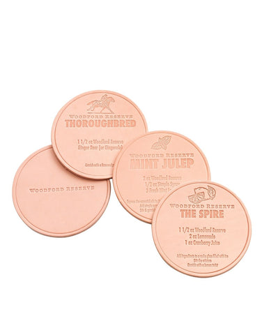 Woodford Reserve Leather Recipe Coasters