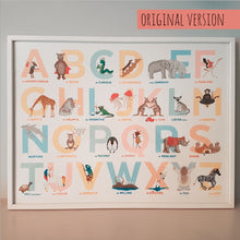 Load image into Gallery viewer, The Original A to Z animal Alphabet of Emotions print - Landscape