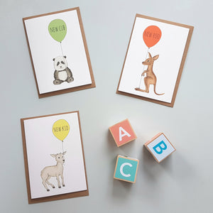 Charming hand illustrated gender neutral new baby cards