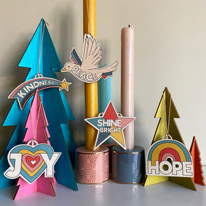 Shine Bright 5 piece Wooden Christmas decoration set