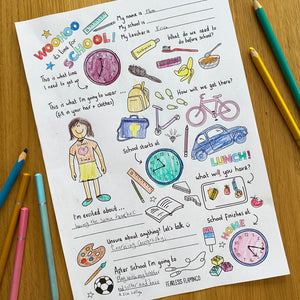 Woohoo it's time for School! - FREE downloadable colouring sheet