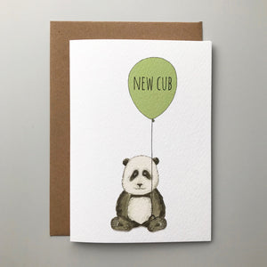 New cub! Charming hand illustrated panda new baby card