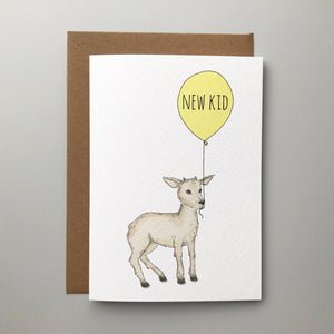 New Kid! Charming hand illustrated animal new baby card