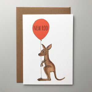 New Roo! Charming hand illustrated kangaroo gender new neutral baby card
