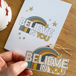 Believe in You - Card with wooden decoration