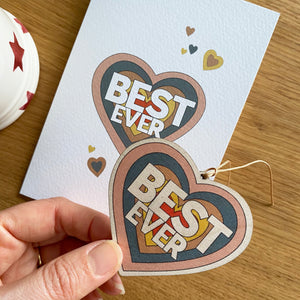 Best Ever - Card with wooden decoration
