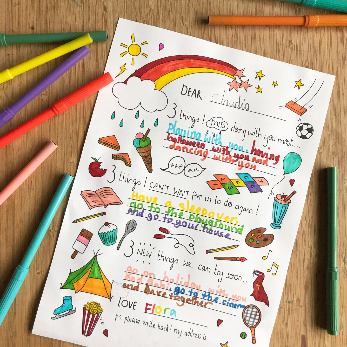 Post Pals lockdown letter - FREE colouring download