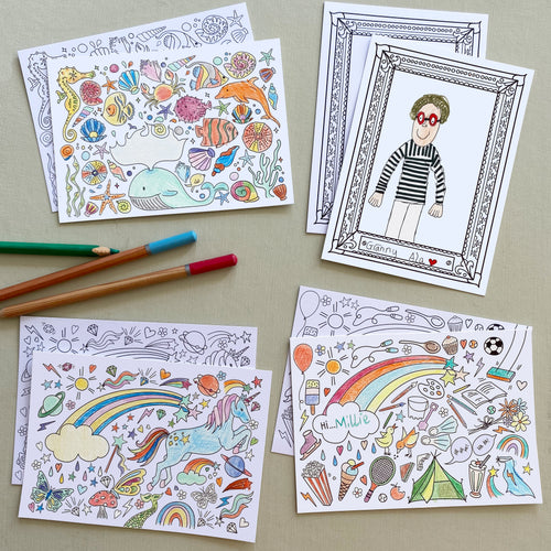 Post Pals - Mixed Pack of Colouring postcards (8pk)