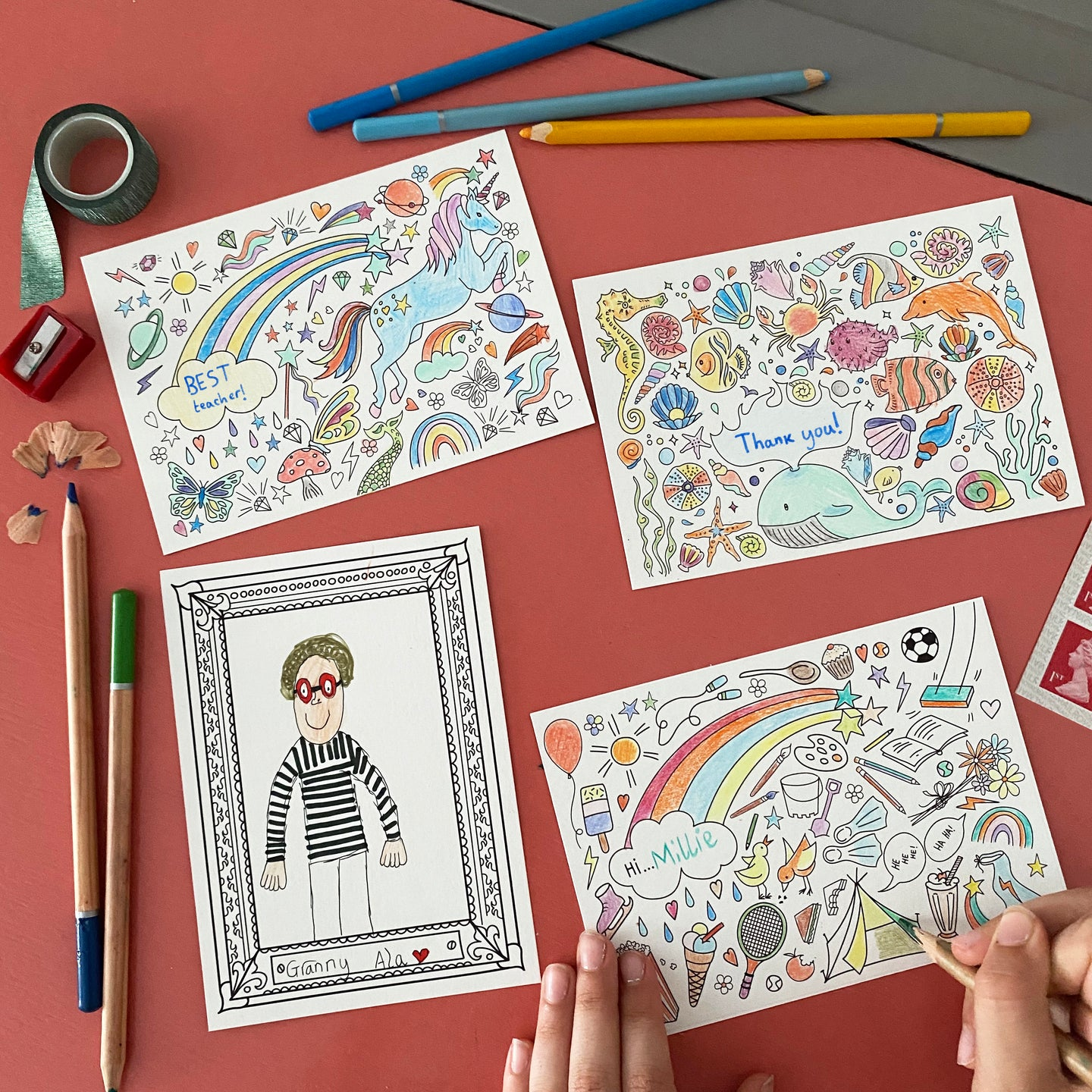 Post Pals - Colouring postcard Bundle (32 postcards)