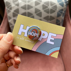 HOPE rainbow mini badge