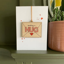 Load image into Gallery viewer, Send a Hug - Card with wooden decoration