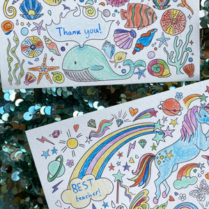 Post Pals Postcards - 8 MAGICAL postcards for kids to colour