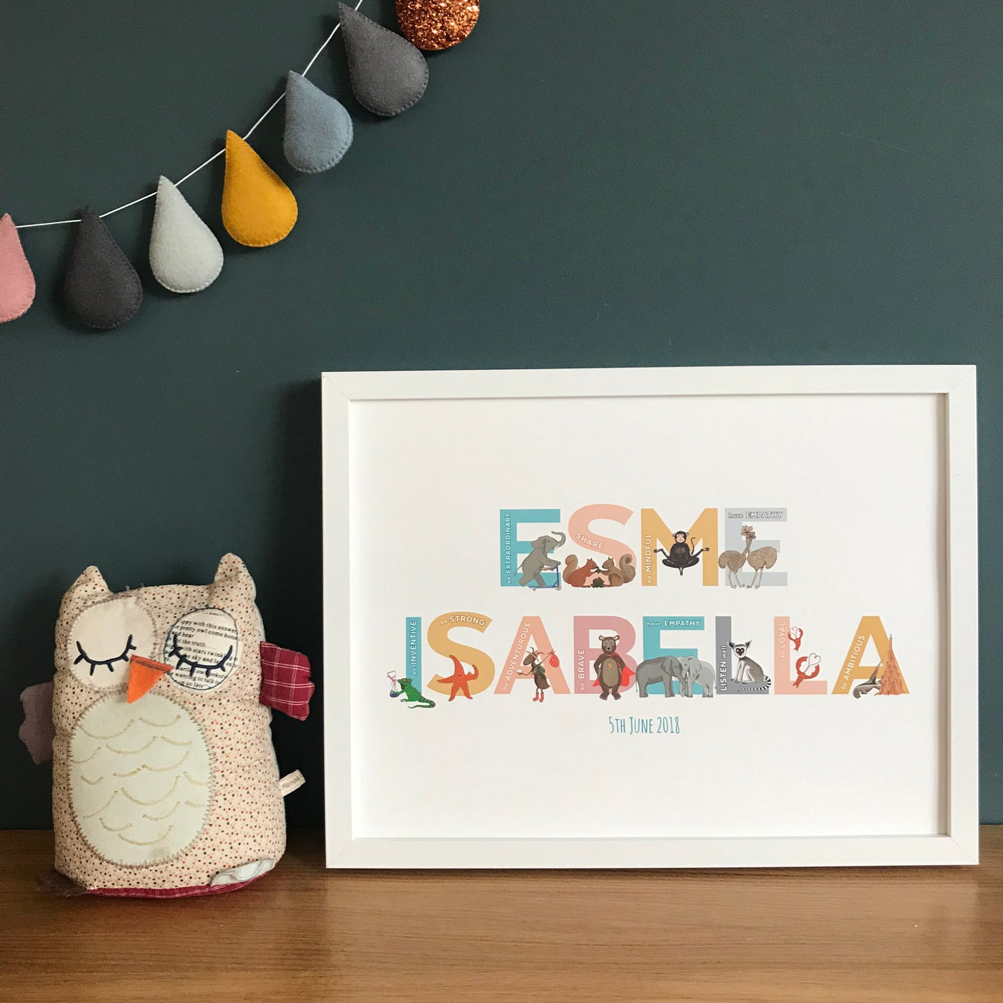 Personalised Alphabet of Emotions children's name print